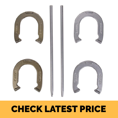 Triumph Hammer-Finished Four Steel Outdoor Backyard Horseshoe Set Review