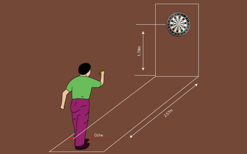 Distance from the dartboard